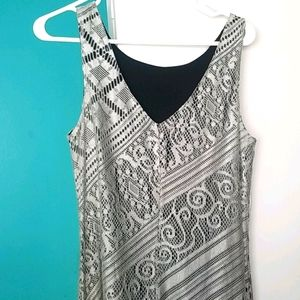 Vintage silver lace dress with fringe bottom